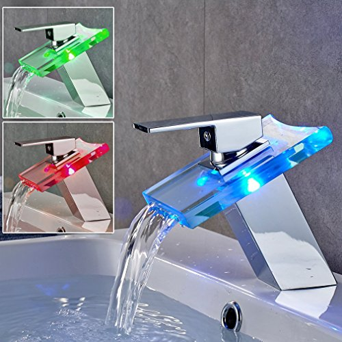 Auralum Single Hole Single-Handle Bathroom Sink Faucet LED Waterfall Vessel Bathroom Faucet in Chrome with 3 Changing Color Light by Auralum