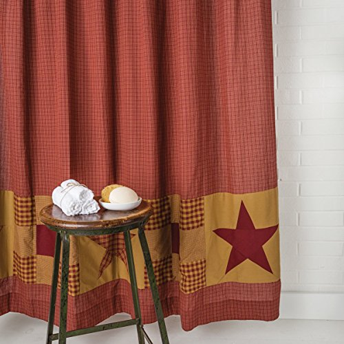 "VHC Brands Classic Country Primitive Bath - Ninepatch Star Red Patchwork Borders Shower Curtain 72"" x 72"""