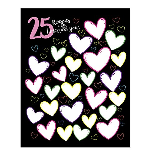 11x14 25th Anniversary Gift For Men - 25 Reasons Why I Married You Poster Print//Cute Personalized Present For Him//Love Home Decor//Wedding Anniversary