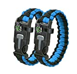 Trifetcrow 2 PCS – Survival Bracelet, Emergency Kit Flint, Fire Starter, Compass, Whistle, Blade, Detachable Paracord, Outdoor, Camping, Climbing, Forest, Fishing, Hunting Gear