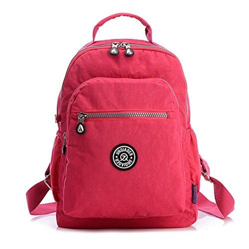 Outreo Rucksack Schul Daypack Leichter Rucksäcke Damen Schultaschen Lässige Tasche Schulrucksack Wasserdicht Reisetasche Backpack für Sport Rot 2