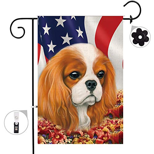 Bonsai Tree Cavalier King Charles Spaniel Dog Burlap Garden Flag Sets,Weather Resistant and Double Sided American Fall Flower Yard Flags with a Rubber Stopper Stop and a Anti-Wind Clip 28x40