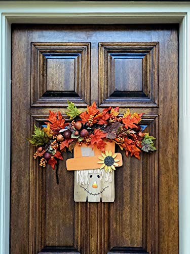 D.I. Inc Halloween Harvest Fall Decoration Wall Front Door Wreath Hanging Wood Decor Indoor Outdoor Interchangeable Double Sides 2 in 1 (13'' x 12'') by D.I. Inc (Image #3)