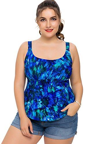 a774f7bdc Sociala Womens Plus Size Tankini Top Swimwear Swimsuit Bathing Suit 20 Blue