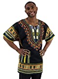 King-Sized Traditional Print Unisex Dashiki Top - 5 Sizes up to a 74 Inch Chest - Available in Several Colors (3X, Black)