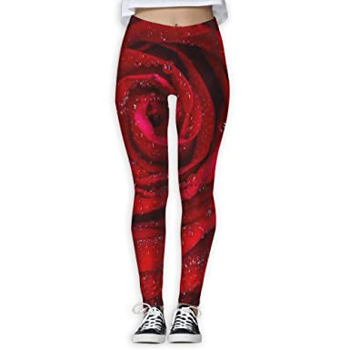 c3e7815d054e98 SNM HILL Rose Red Rosa Morning Women's Printed Yoga Leggings Sport Pants  Stretchy Tights Elastic at Amazon Women's Clothing store: