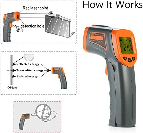 Roeam Infrared Thermometer Gun -32 380 12 1 Portable Handheld Digital Non-Contact IR Infrared Thermometer Temperature Tester Pyrometer Industrial Infrared Thermometer LCD Display