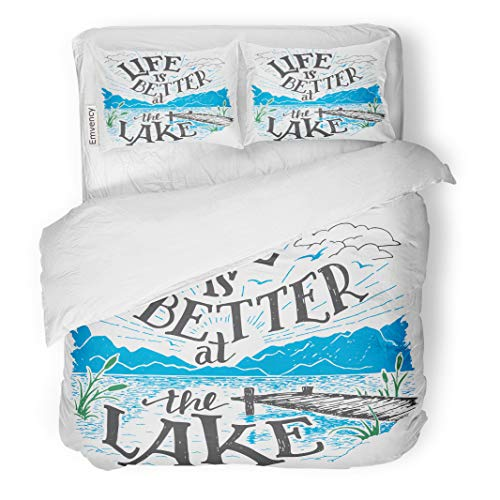 Semtomn Decor Duvet Cover Set Twin Size Life is Better at The Lake House Sign 3 Piece Brushed Microfiber Fabric Print Bedding Set Cover]()