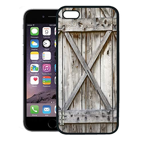 (Semtomn Phone Case for iPhone 8 Plus case,Door Plank Wooden Wall of Old Barn Wood Hinges Architecture Abstract iPhone 7 Plus case Cover,Black)