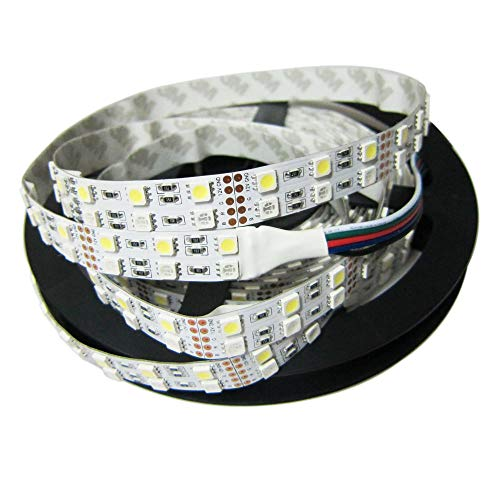 Alarmpore (TM) 16.4FT Double Row 5050 RGBW RGB White LED Strip 5M 600Leds SMD Flexible Light 120Leds/M 12V DC Non-waterproof