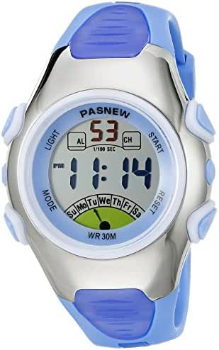 Pasnew Fashion Waterproof Children Boys Girls Digital Sport Watch with Alarm, Chronograph, Date (Blue)