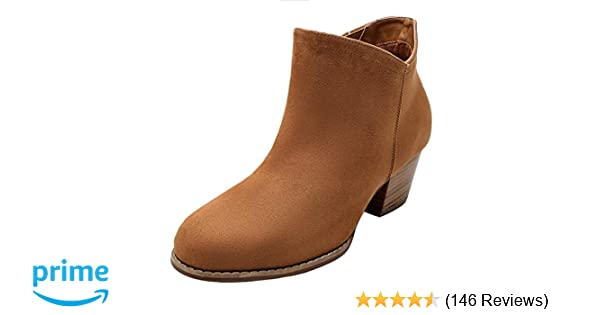 8e76da2634e Luoika Women's Wide Width Ankle Boots - Mid Chunky Block Heels Round Toe  Slip on Side Zipper Booties.
