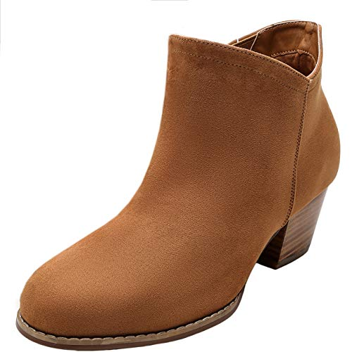Women's Wide Width Ankle Boots - Classic Side Zipper Mid Low Wooden Block Heel Booties.(180710,Brown,7WW Ankle Boots Side Zipper