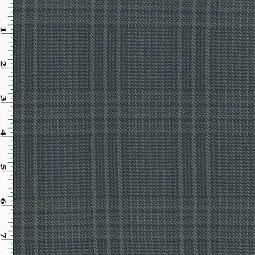 Navy Blue/Gray/Multi Wool Blend Plaid Jacketing, Fabric by The Yard