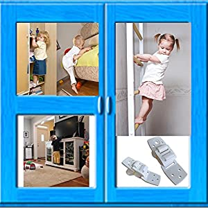 Safety Furniture Straps - Anti-Tip Anchors for Any Furniture, Extra Strong Hold - 8 Pack White - Childproofing for Light & Heavy Furniture - Door Slam Stopper Included