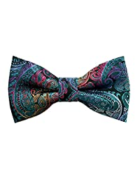 Alizeal Boys Adjustable Fashion Paisley Floral Strapped Pre-tied Kids Bow Tie (Peacock Blue)