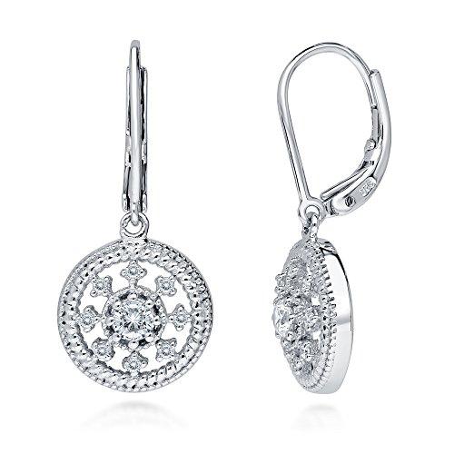 BERRICLE Rhodium Plated Sterling Silver Cubic Zirconia CZ Art Deco Medallion Milgrain Leverback Wedding Dangle Drop Earrings ()