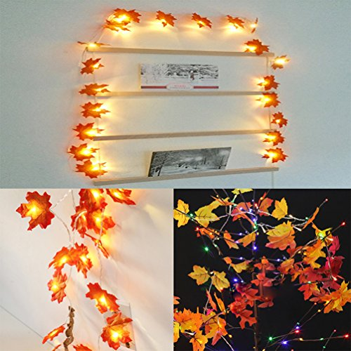 13 Ft 40 Leds Christmas Decorations String Lights Maple Leaf Fall Garland Battery Powered String Lightd Garland for Thanksgiving Christmas Holiday Decorations