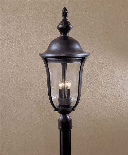 Outdoor Post Park Mount (Minka Great Outdoors 8846-94 Morgan Park - Three Light Outdoor Post Mount, Heritage Finish with Clear Optic Glass)