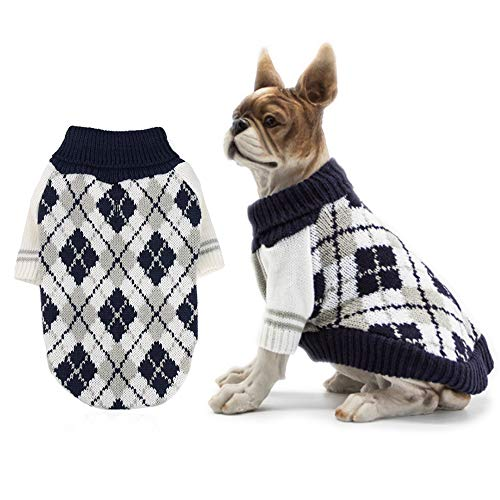 RilexAwhile Dog Sweater Dog Knit Sweater Diamond Plaid Dog Christmas Sweater Pet Sweatshirt with Harness Hole Winter…