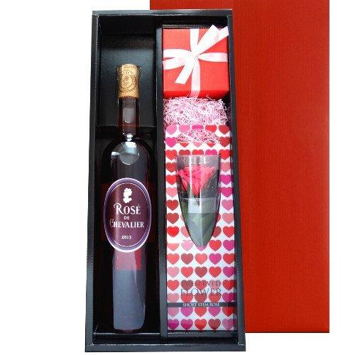 お花 ワインフラワーベース ギフト セット フランス ロゼワイン 「ロゼドシュヴァリエ」 プリザーブドフラワー バラの花 手作りの津軽びいどろの一輪挿し お誕生日 お祝い B01EFN709Q
