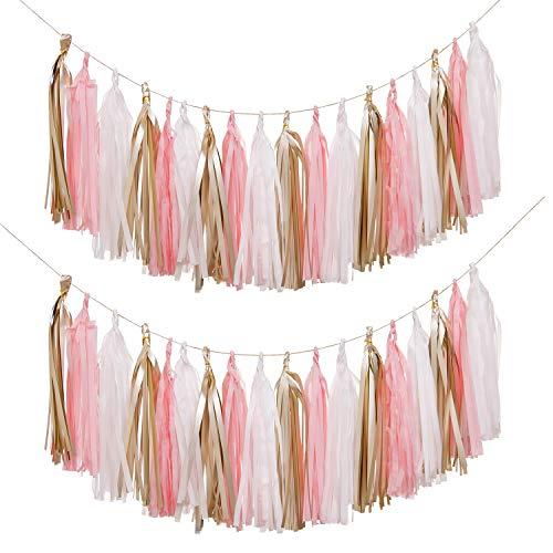 Ling's moment 18 PCS DIY Tassel Garland, Set of 2, Tissue Paper Tassel Fiesta Fringe Banner Pompom for Wedding, Bachelorette, Baby Shower, Birthday,Home Decorations(Pink, Gold, - Large Tassel Fringe