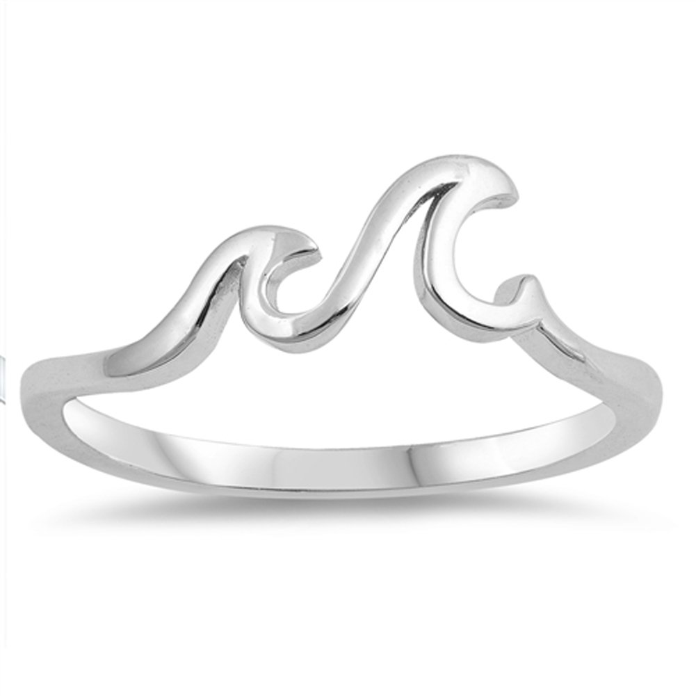 Wave Ocean Sea Tropical Nature Thumb Ring .925 Sterling Silver Band Size 11