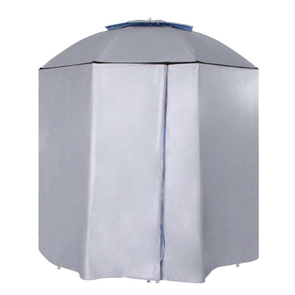 ZHUSAN Paraguas De Pesca Universal Bloqueador Solar Pliegue Ultraligero Espesar Sombrilla Doble Pa/ño Wai Parasol Rodeado por Tela Azul Y Gris para Playa Picnic BBQ