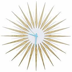 Metal Art Studio Atomic Era Maple White/Blue Decorative Wall Clock, Large,