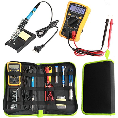 Shantan soldering iron kit welding work digital multimeter screwdiver holder 60w adjustable temperature station tool yellow with electric set display combination by Shantan