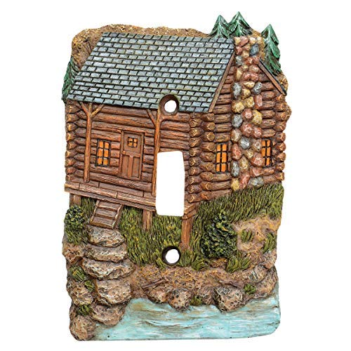 Black Forest Décor Decorative Rustic Single Switch Cover for Electrical Outlet (Tranquil Cabin Single Switch)