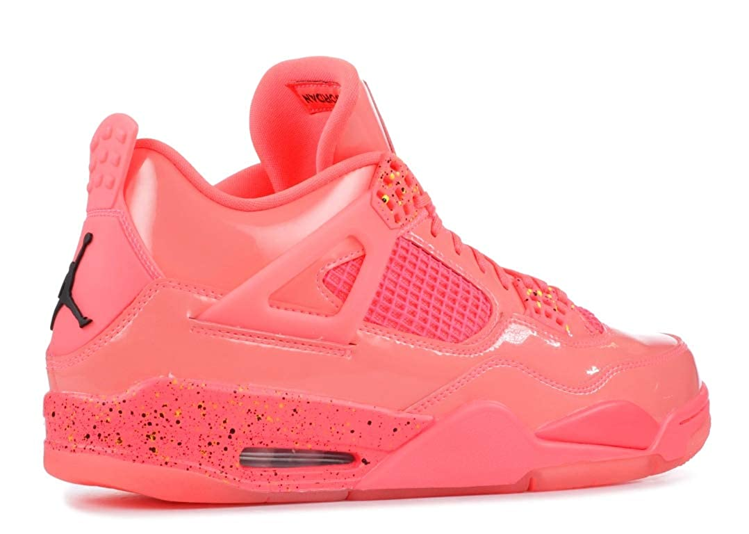 Nike Jordan Womens Retro 4 Hot Punch//Black//Volt Leather Basketball Shoes 8.5 M US