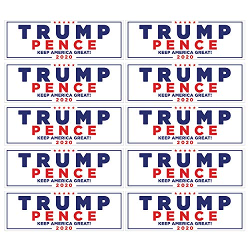 Go Party USA Trump 2020 Stickers 10 Pack | Keep America Great Trump Bumper Stickers | President Donald Trump Bumper Stickers for Cars | Trump Window Decal Gifts | Trump 2020
