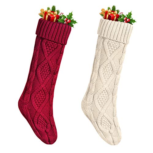 "Funny Party 2 Pack 18"" Large Knit Christmas Stockings,Classic Solid Color Red/wihte"