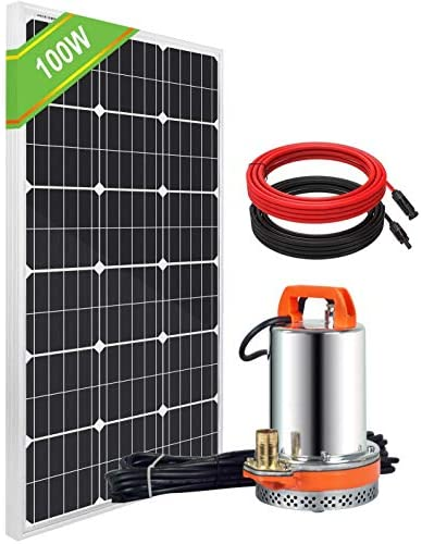 DC HOUSE Solar Wasserpumpe Kit: 100W Poly Solarmodul + 20A Solarregler + Tauchwasserpumpe für Bewässerung Bewässerung