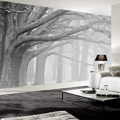 xbwy Custom 3D Wall Mural Retro Modern Black and White Forest Tree Wallpaper Living Room Bedroom Background Wall Painting Home Decor-150X120Cm ()