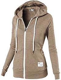 Womens Active Comfy Slim Fit Full Zip Up Long Sleeve Hoodie Cotton Jacket