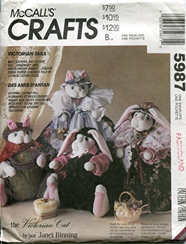 (McCall's Crafts Pattern 5987 ~ Victorian Tails Cat & Bunny Dolls by Janet Binning)