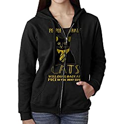 Womens Hoodie Sweatshirt People Who Hate Cats Long Sleeve Zip-up Hooded Sweatshirt Jacket L
