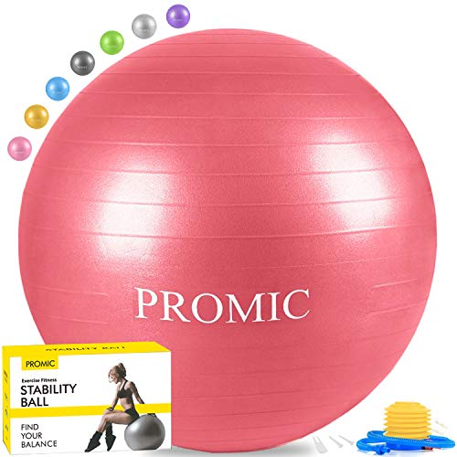 PROMIC Exercise Ball (55 cm) with Foot Pump, Professional Grade Anti Burst & Slip Resistant Stability Balance Yoga Ball for Yoga, Workout, Cardio Drumming, Classroom, Work Ball Chair (Red)