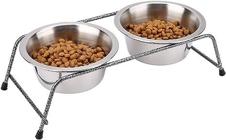 Comedero para Gato Antideslizantes Cuencos para Comida para Mascotas para Comida y Agua Blanco + Negro 2 Pcs Comedero para Gato Cuencos para Perros