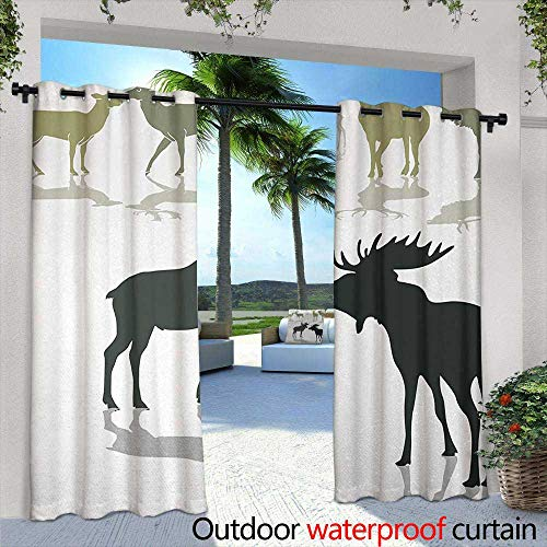 Tim1Beve Grommet Outdoor Curtains Antlers Elk Deer and Fawn Silhouette Forest at The Background World Natural Heritage Theme Grommet Curtains for Bedroom 108