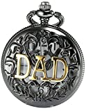 AMPM24 Women Men's Dad Black Dangle Pendant Pocket Quartz Watch Gift + Chain WPK051