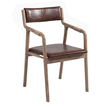 Vintage Wooden Chairs >> Amazon Com Retro Wooden Dining Chair Hemp Rope Armchair Soft