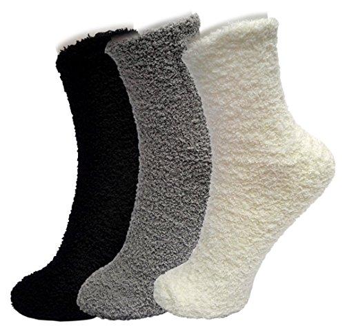 ELLITE Styles Premium Soft Warm Microfiber Crew Socks, 3 pair ,white, grey, black ,Soild, One Size(Fits Shoe Size: 6-9 & Sock Size: 9-11)