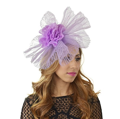 Hats By Cressida crin & Silk Flower Elegant Ladies Ascot Wedding Fascinator Hat Lilac by Hats By Cressida