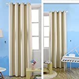 Kinlo Blackout Curtains Grommet Room Darkening Window Curtain Triple Weave Thermal Insulated Drapes 57x96 Inch 1-Panel, Beige