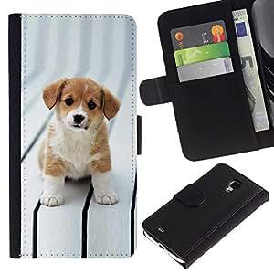 """Samsung Galaxy S4 Mini i9190 / i9195 (Not For Galaxy S4) , la tarjeta de Crédito Slots PU Funda de cuero Monedero caso cubierta de piel ("""" Puppy Cut Adorable Brown White Big Eyes"""")"""