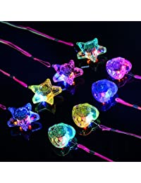 8PCS Colorful LED Sparkle Plastic Necklace and Shining Pendants (in Pentacle Star and Heart Shape)