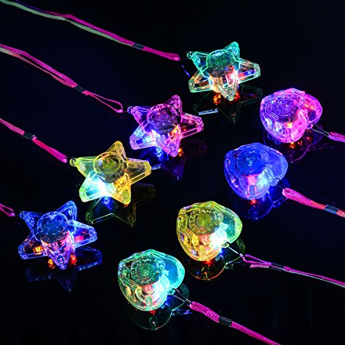 BAOQISHAN 8PCS Colorful LED Sparkle Plastic Necklace and Shining Pendants (in Pentacle Star and Heart Shape) (Birthday Wishes For My Niece And Nephew)